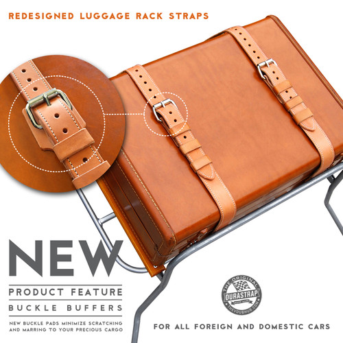 Durastrap Universal Rear Luggage Straps for Classic VW, German and British Cars - Natural Tan Leather