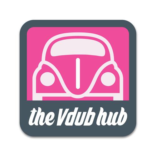 """""""I Love Pink"""" Vdub Hub VW Sticker"""