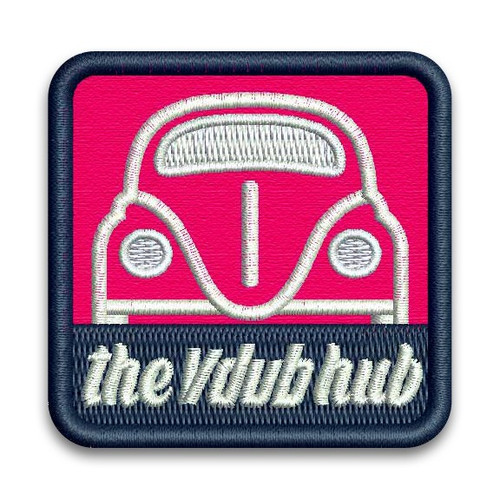 Pink Vdub Hub VW Embroidered Patch - Heat Adhesive Back