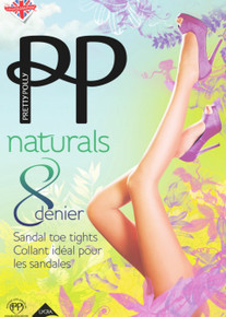 Pretty Polly Naturals 8 Denier Sandal Toe Tights