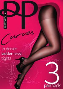 Pretty Polly Pretty Polly Curves 15 Denier Ladder Resist Tights 3 Pair Pack