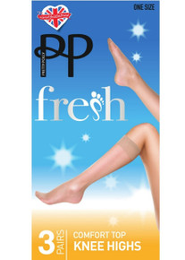 Pretty Polly Pretty Polly Fresh 15 Denier Comfort Top Knee Highs 3 Pair Pack