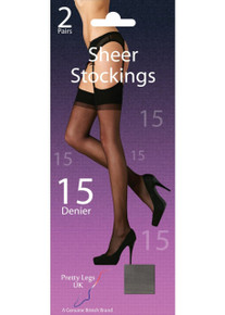 Pretty Legs Pretty Legs 15 Denier Sheer Stockings 2 Pair Pack