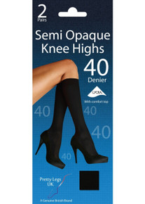 Pretty Legs Pretty Legs 40 Denier Opaque Knee Highs 2 Pair Pack