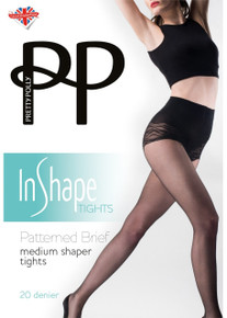 Pretty Polly Pretty Polly In Shape Patterned Brief Medium Shaper Tights