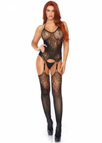 Leg Avenue Leg Avenue Jacquard Net Suspender Bodystocking