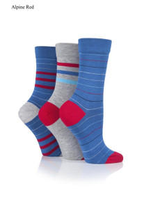 Sockshop Sockshop Ladies Gentle Striped Bamboo Socks -3 Pair