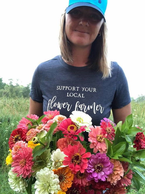 Support Your Local Flower Farmer, Flower Farmer, Shirt, Crew, Vintage Navy Blue, Flower Farming Shirt
