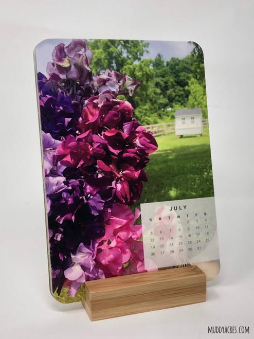 2020 calendar, calendar, easel, desktop, tabletop, flowers, flower calendar
