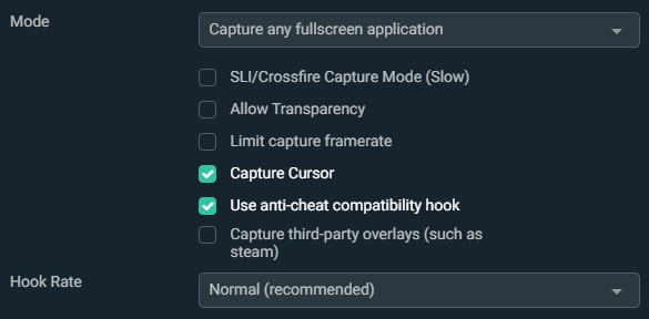 Game Capture Settings