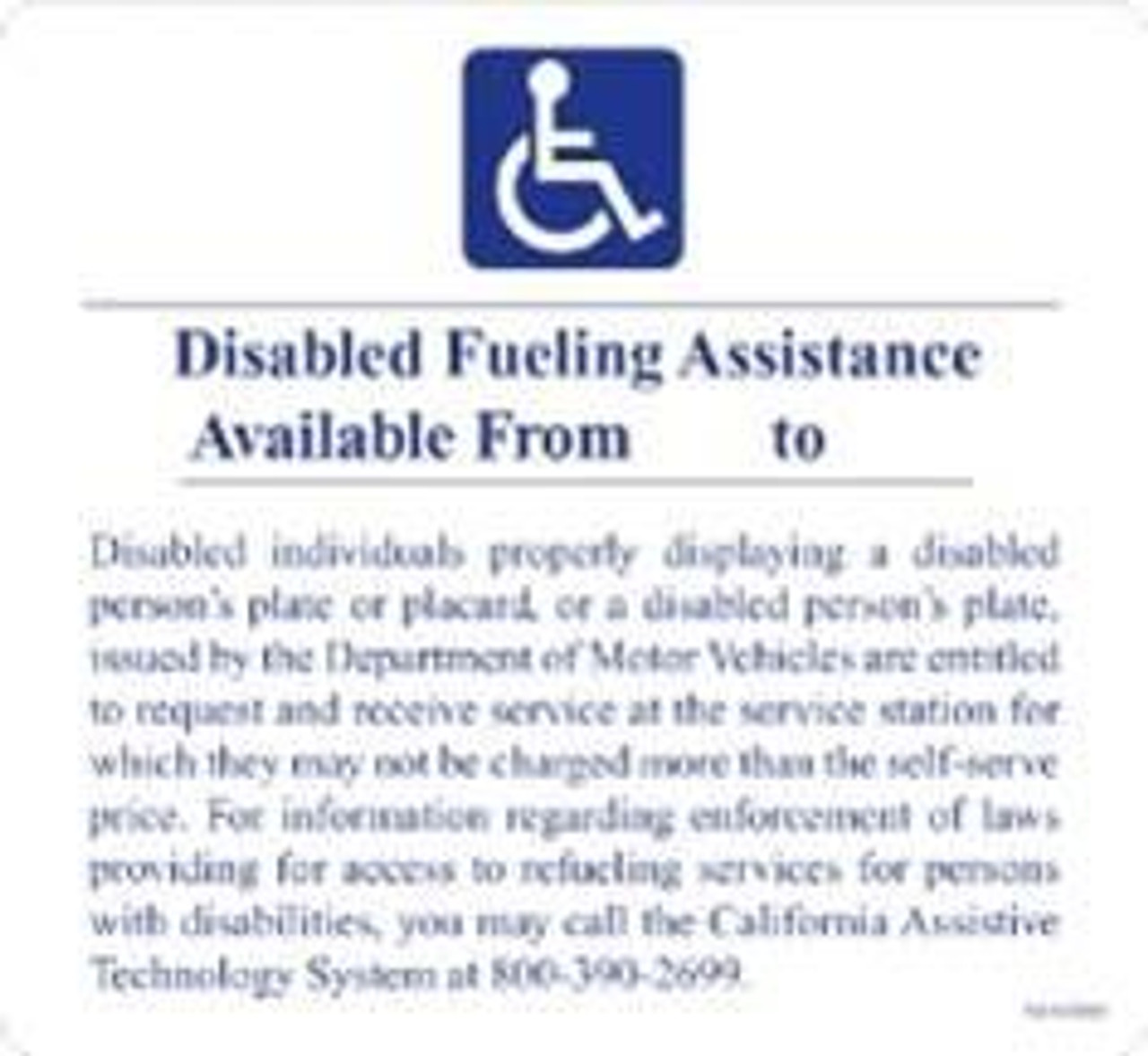 "PID-1138 - Disabled Fueling Assistance Decal 6"" x 6.25"""