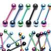 Purple IP Steel Ball 5mm - 316L Surgical Steel Straight Barbell/Tongue Piercing - 14 Gauge (1 Piece)