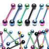 Green IP Steel Ball 5mm - 316L Surgical Steel Straight Barbell/Tongue Piercing - 14 Gauge (1 Piece)