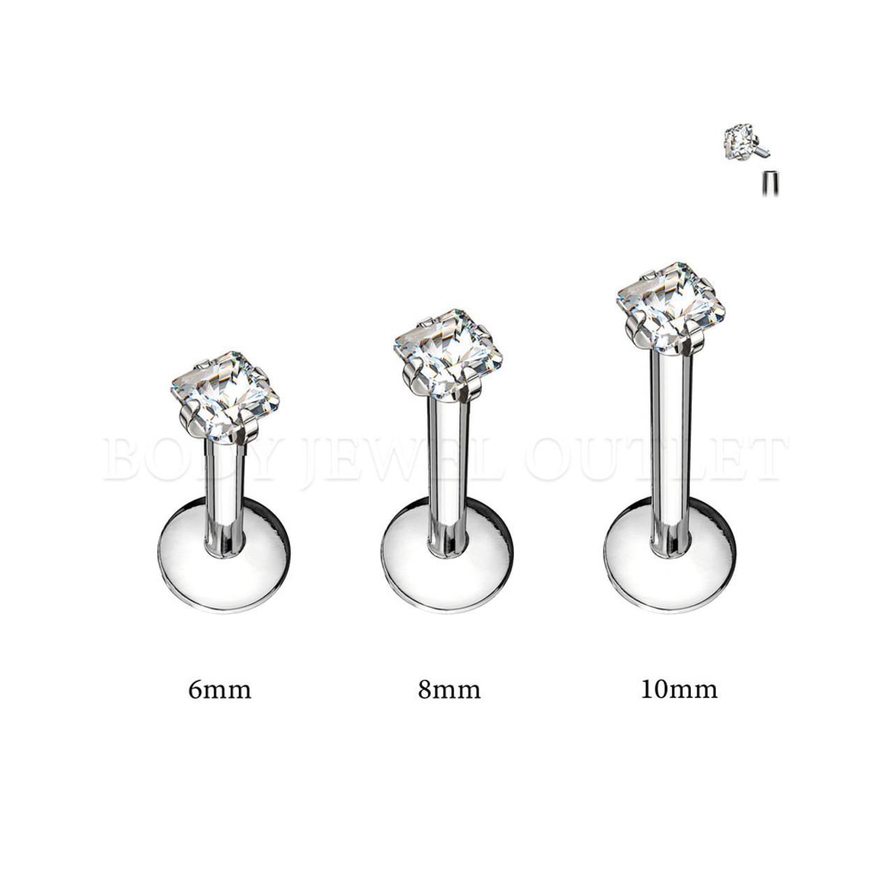 Labret Lip Piercing Steel Internal thread w/ Square Clear CZ | BodyJewelOutlet