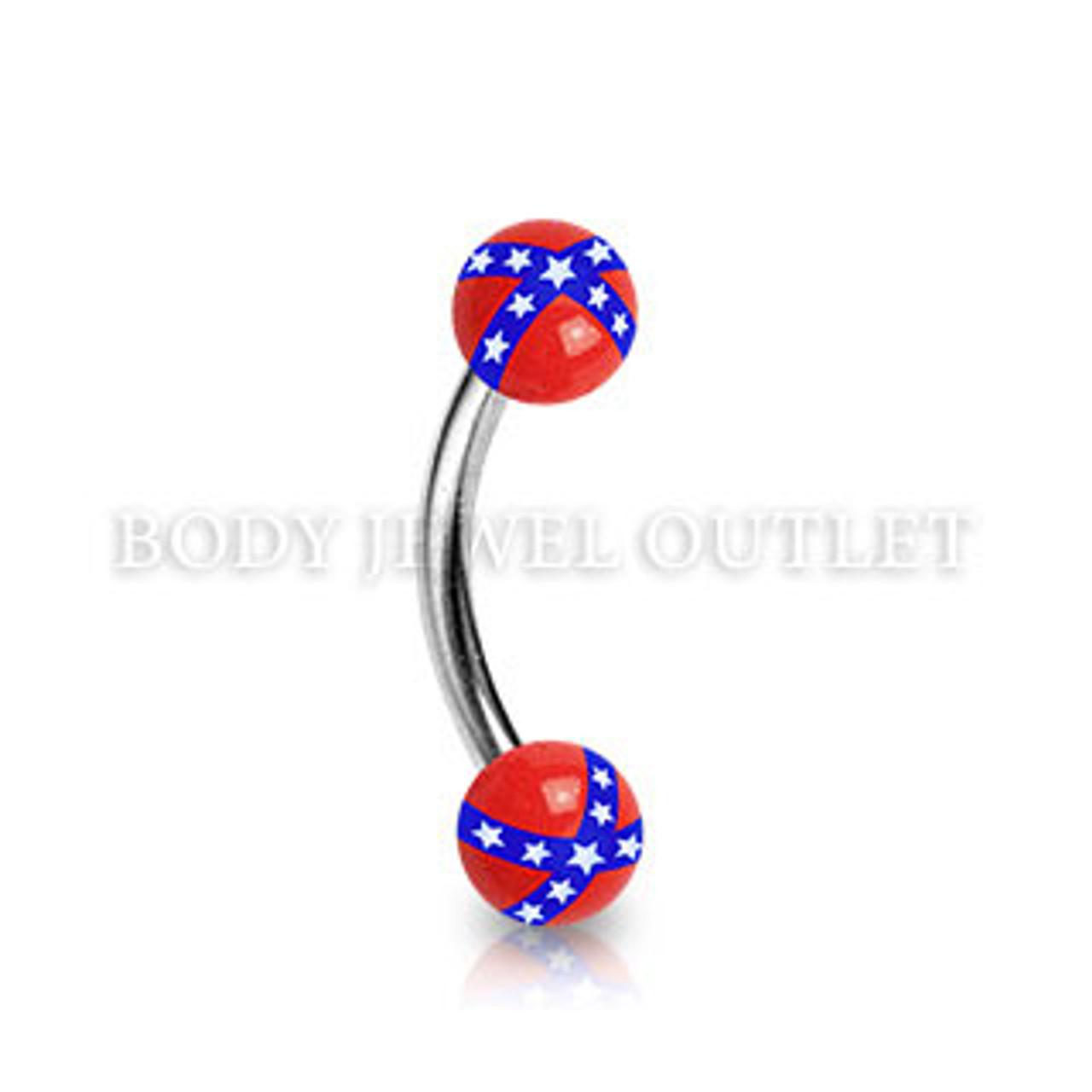 Eyebrow Piercing Steel w/ Rebel Flag on Acrylic Ball | BodyJewelOutlet confederate flag,