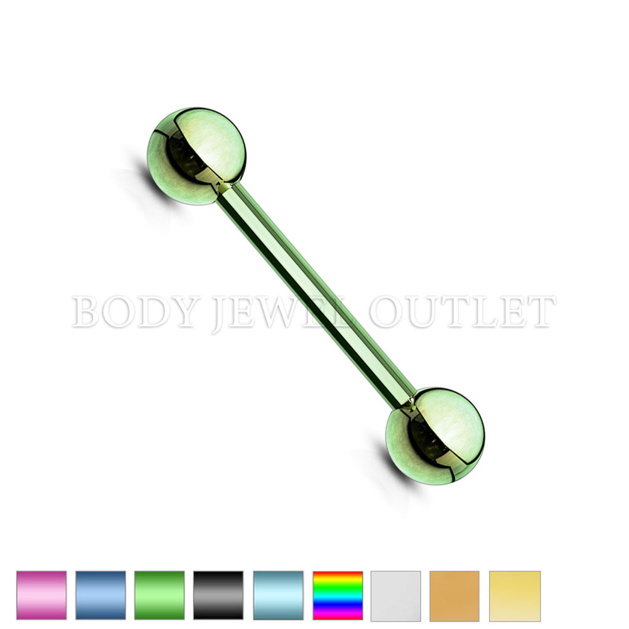 Tongue Piercing Green Ion Plating Steel | BodyJewelOutlet