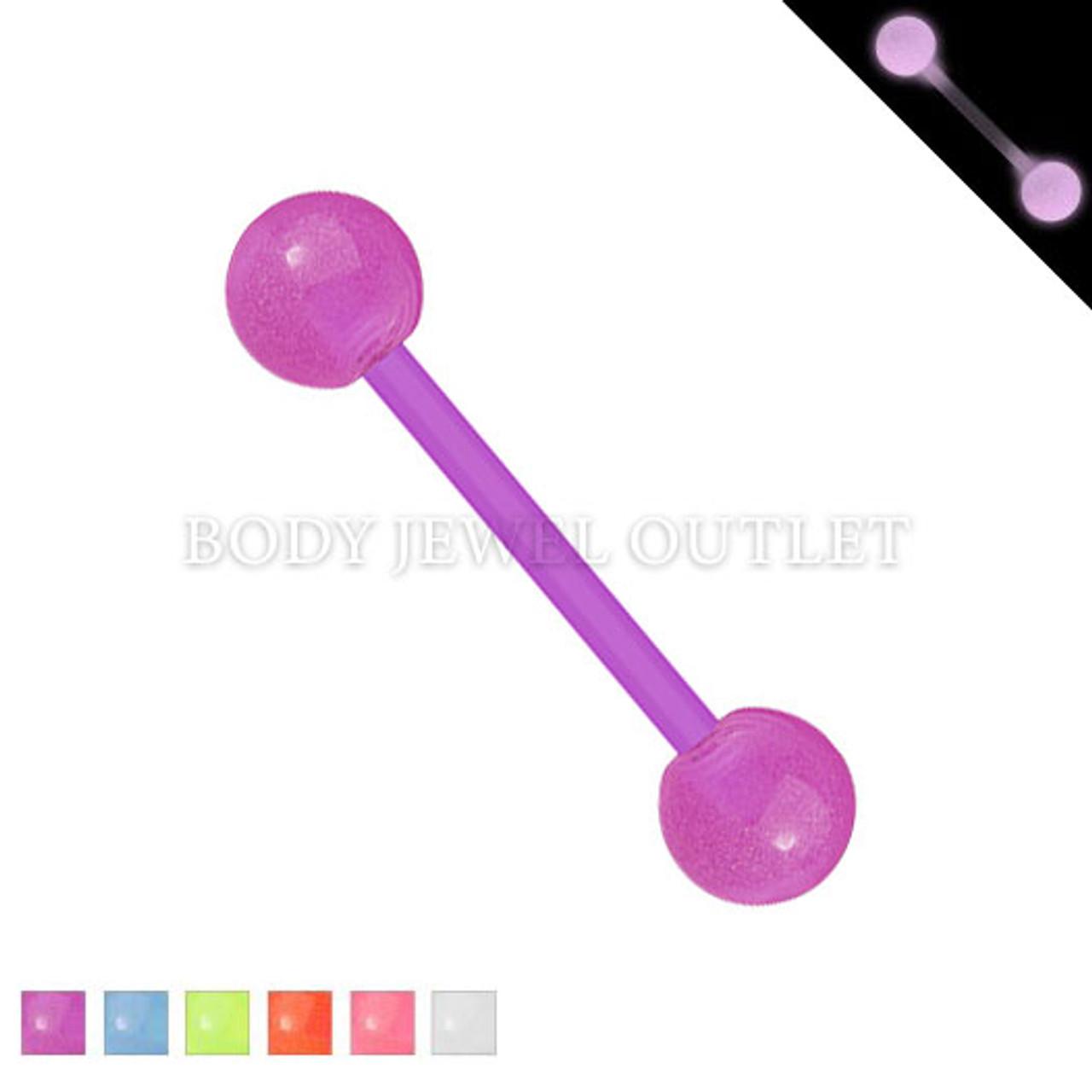 Bio Flex Tongue Piercing Purple Glow in Dark | BodyJewelOutlet