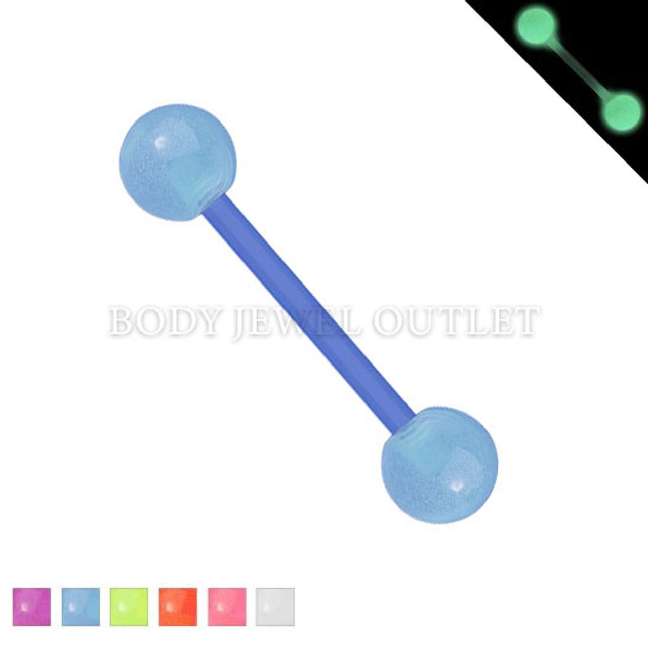 Bio Flex Tongue Piercing Blue Glow in Dark   BodyJewelOutlet