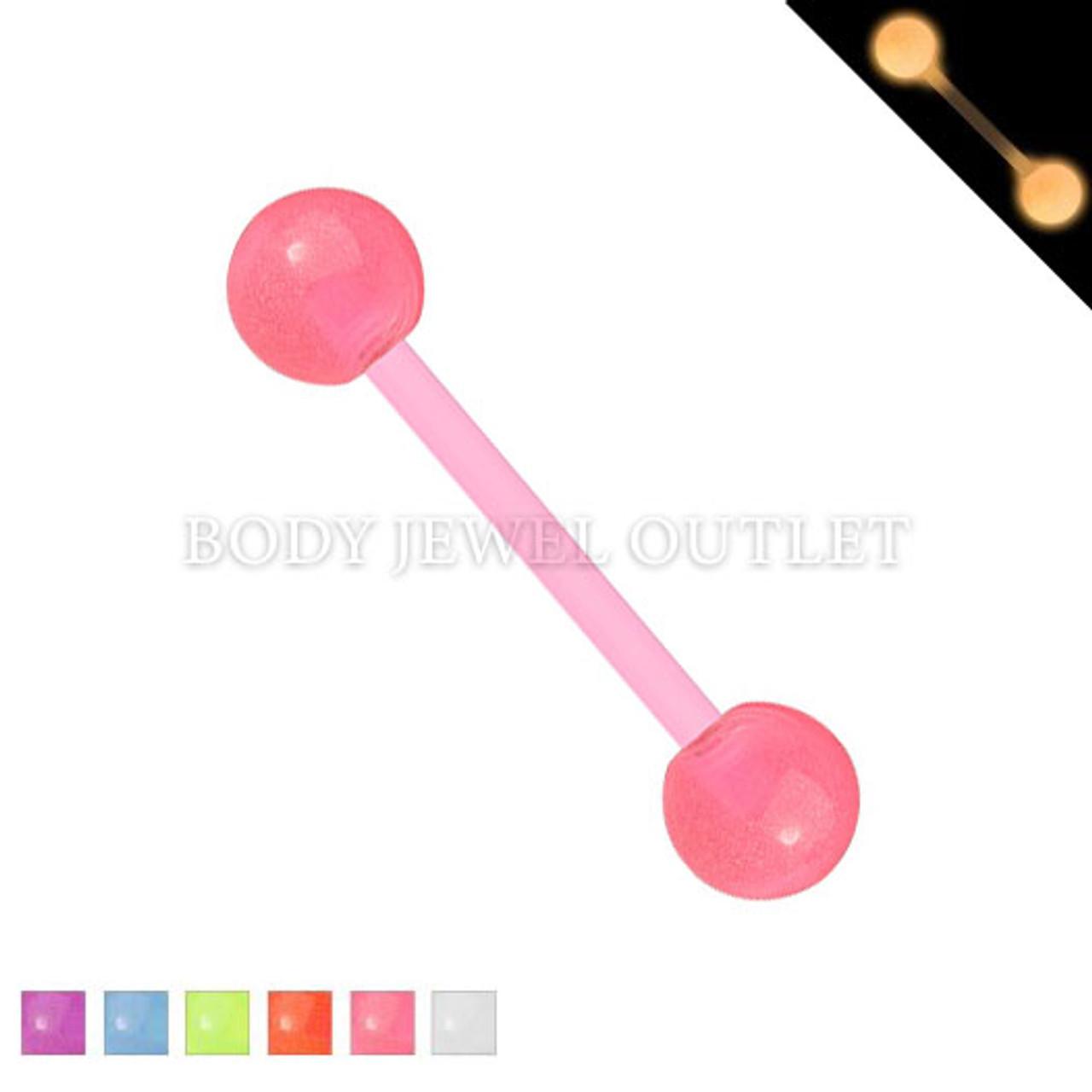 Bio Flex Tongue Piercing Pink Glow in Dark   BodyJewelOutlet