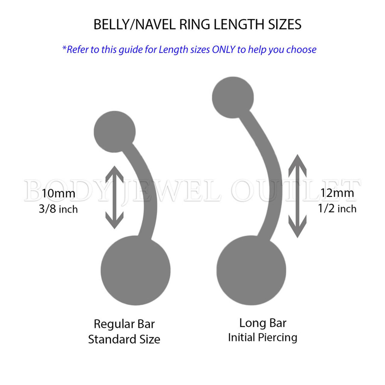Orange GLOW in the Dark Acrylic Balls - Bio Flex Acrylic Belly/Navel Ring Piercing - 14 Gauge (1 Piece)