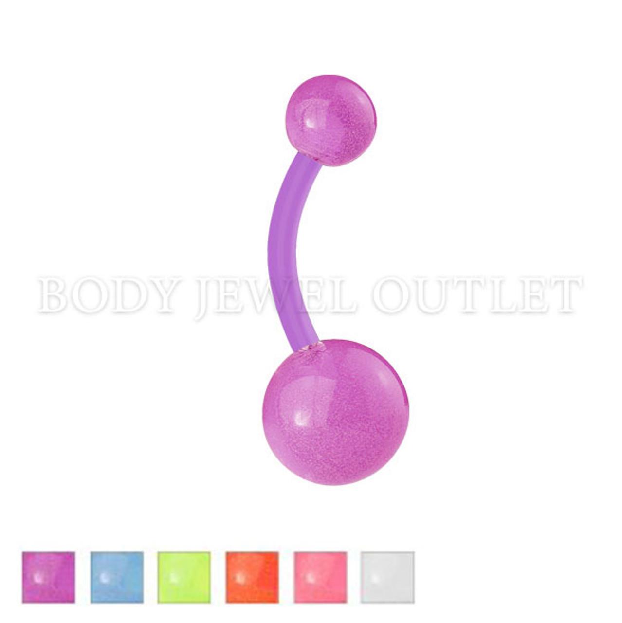 Bio Flex Belly Piercing with Glow in Dark   BodyJewelOutlet