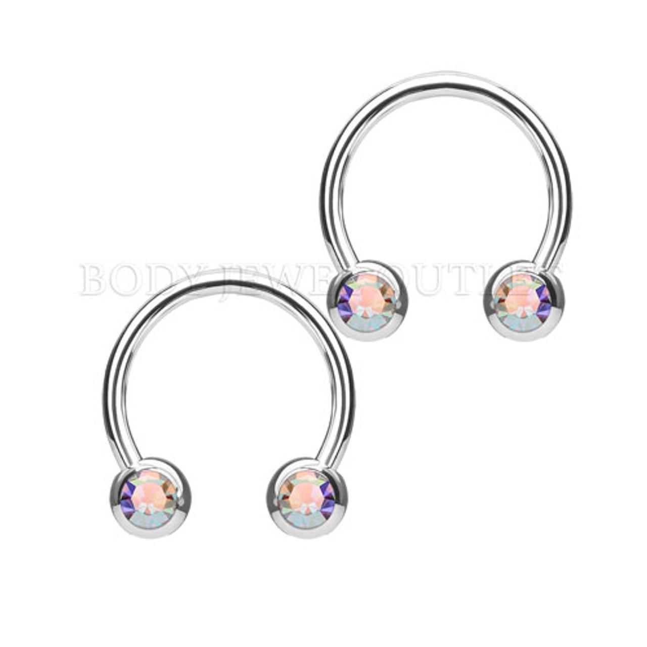 Nipple Piercing Surgical Steel Hoop AB Gem | BodyJewelOutlet