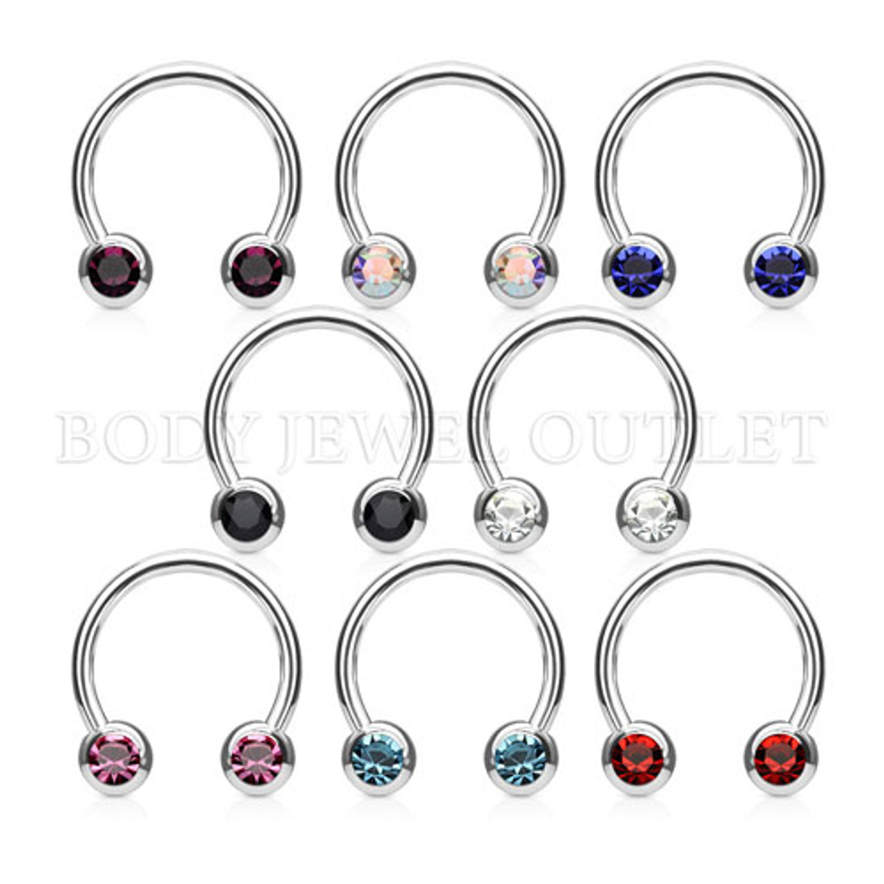 AB (Rainbow) Front Facing Gem - Steel Balls 5mm - 316L Surgical Steel Circular Barbell/Nipple Piercing - 14 Gauge (2 Pieces)