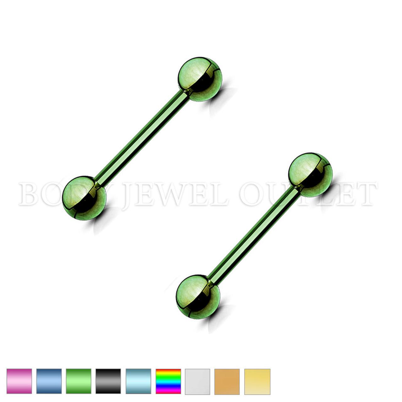 Nipple Piercing Green Steel Straight Bar | BodyJewelOutlet