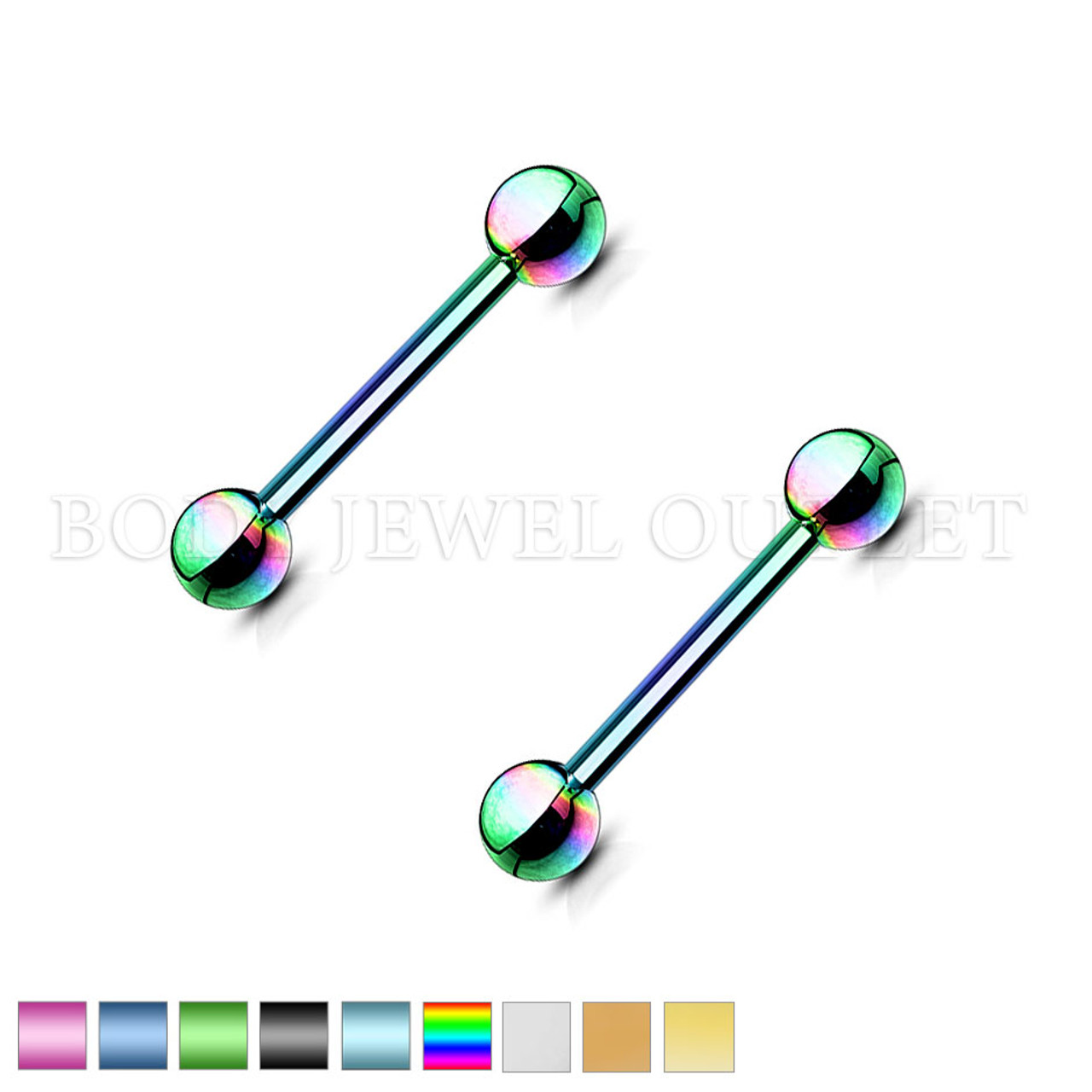 Nipple Piercing Rainbow Steel Straight Bar | BodyJewelOutlet