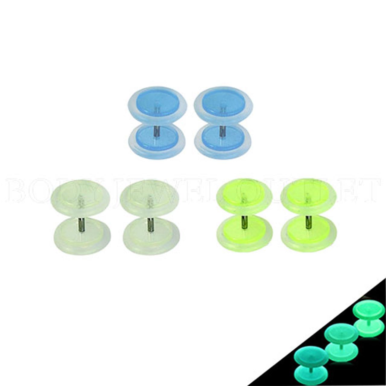 GLOW in the Dark Green - Acrylic Fake Plug - 0G Look - Screw On Earrings - Pair (2 pieces)