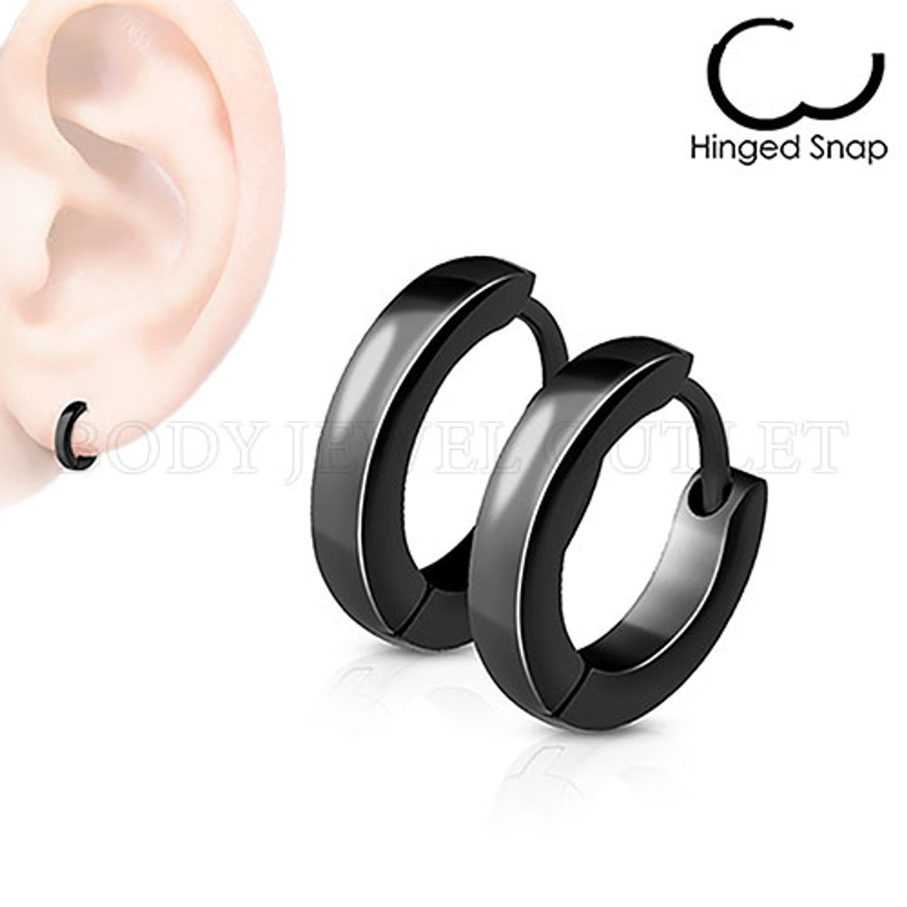 Plain Black IP Thin 2.5mm Wide - 316L Stainless Steel Hoop/Huggie Earrings - Pair (2 Pieces)