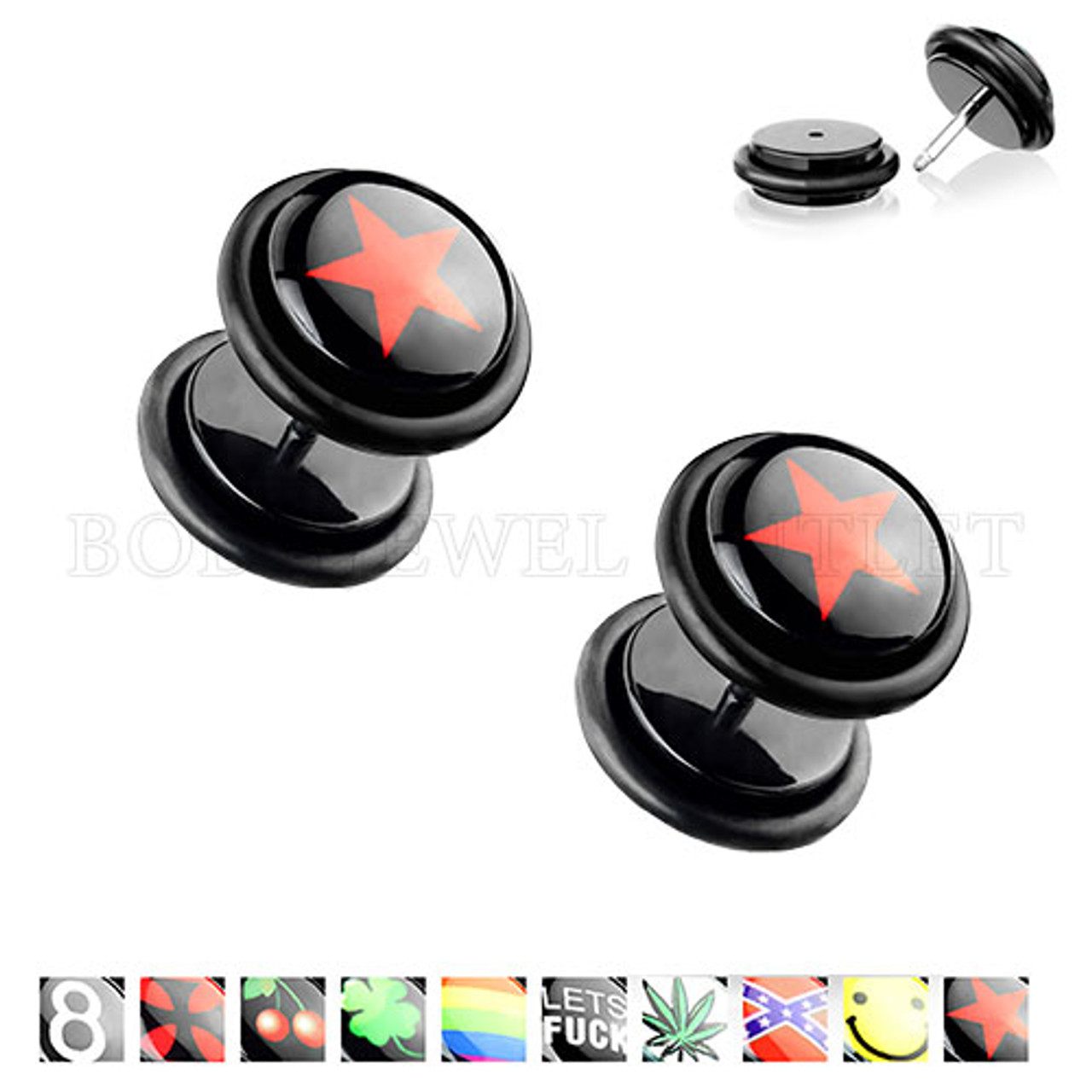 Fake Ear Plugs Red Star Logo- Surgical Steel   BodyJewelOutlet