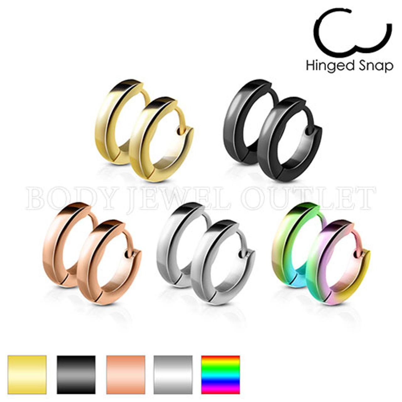 Rose Gold IP 2.5mm Thin Hoop - 316L Stainless Steel Hoop/Huggie Earrings - Pair (2 Pieces)