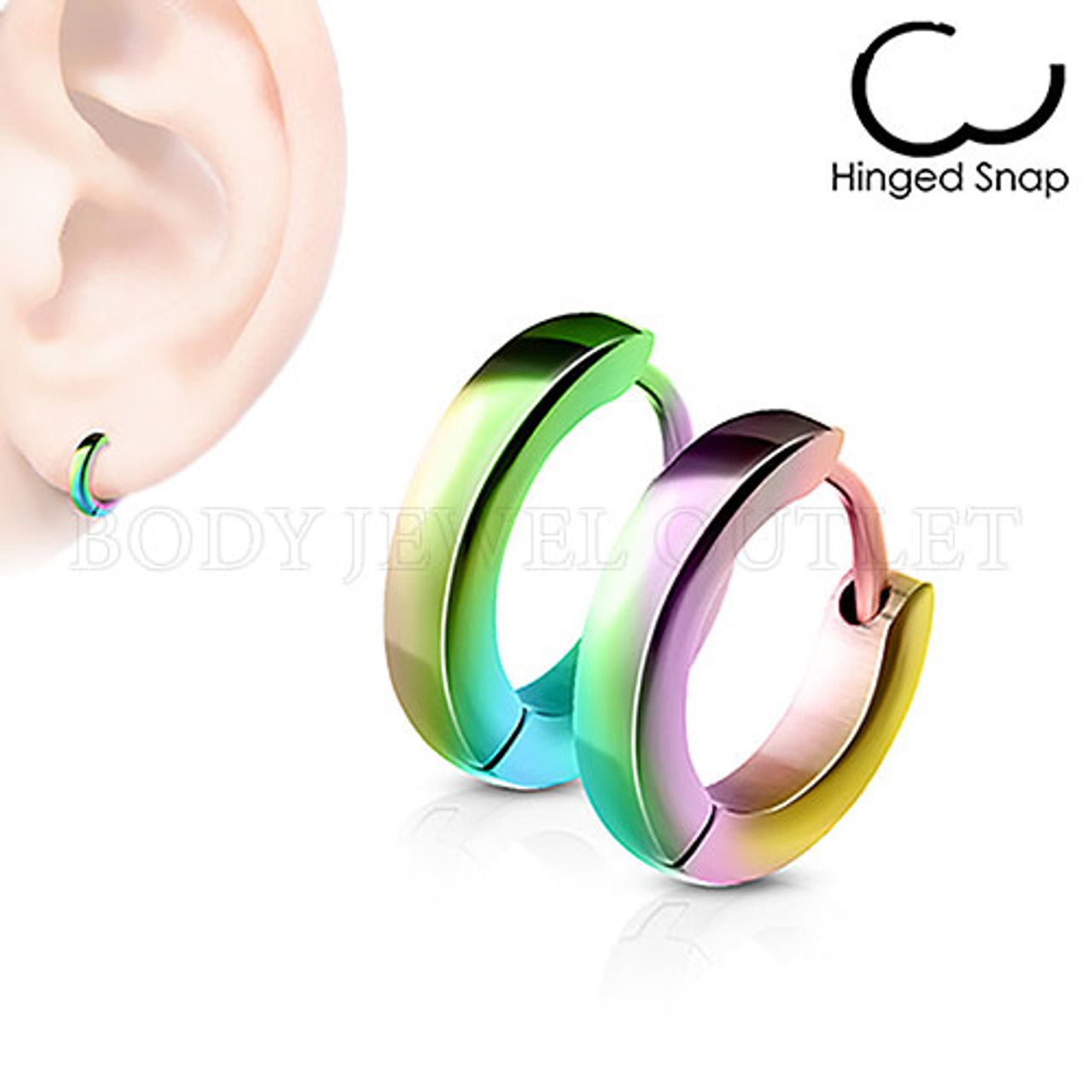 Plain Rainbow IP Thin 2.5mm Wide - 316L Stainless Steel Hoop/Huggie Earrings - Pair (2 Pieces)