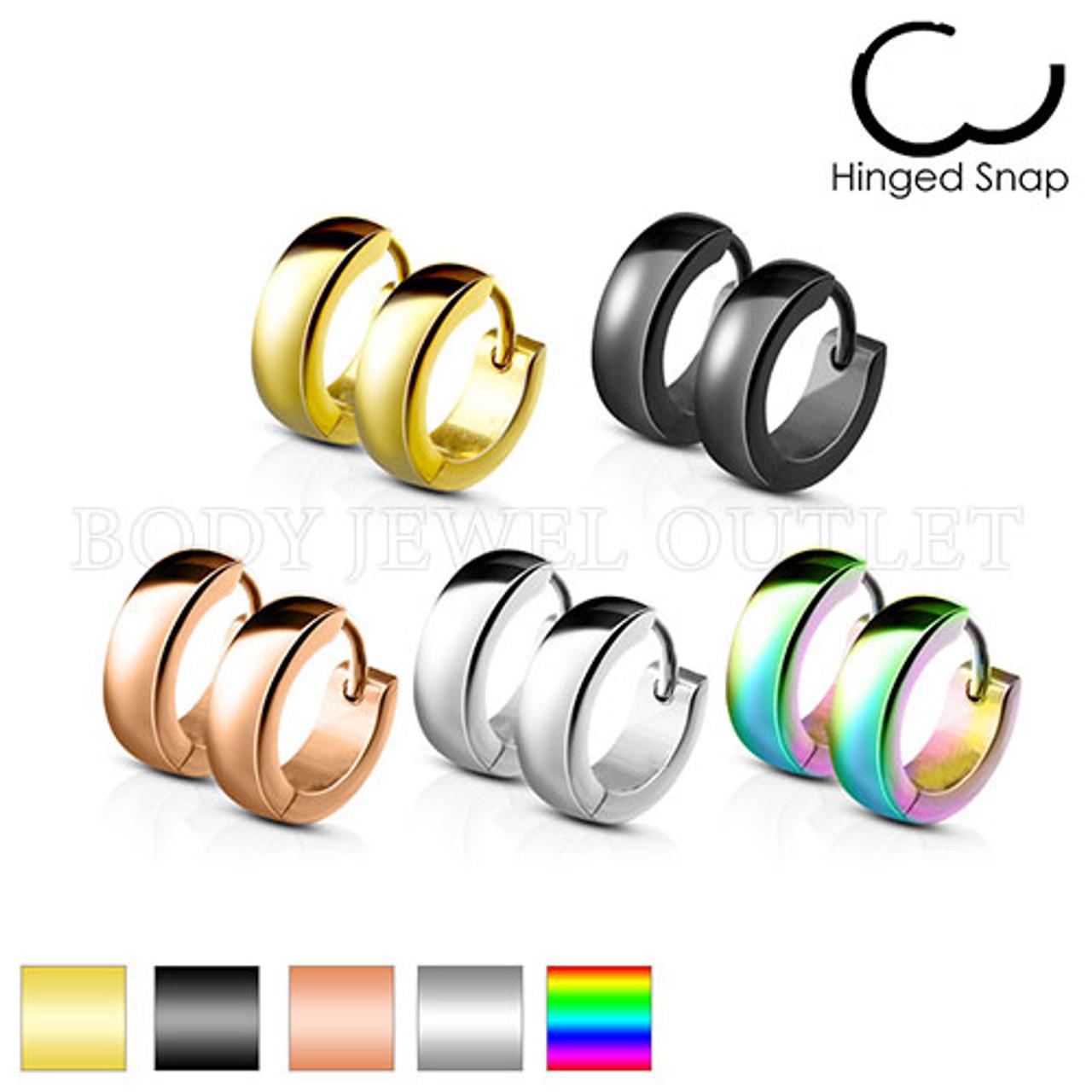 Rainbow IP 4mm Hoop - 316L Stainless Steel Hoop/Huggie Earrings - Pair (2 Pieces)