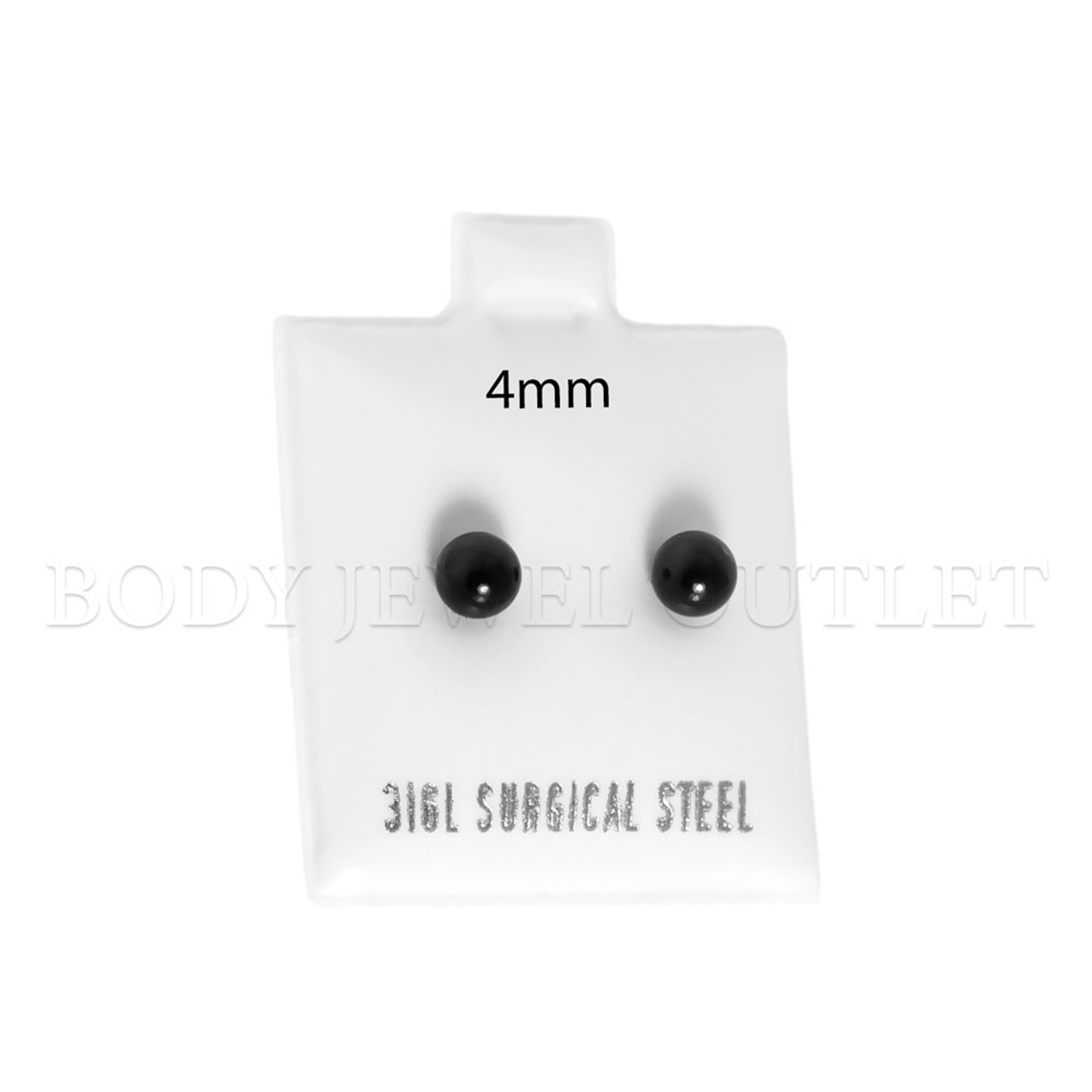 4mm Black IP Ball Stud - 316L Stainless Steel Earring - Pair (2 Pieces)