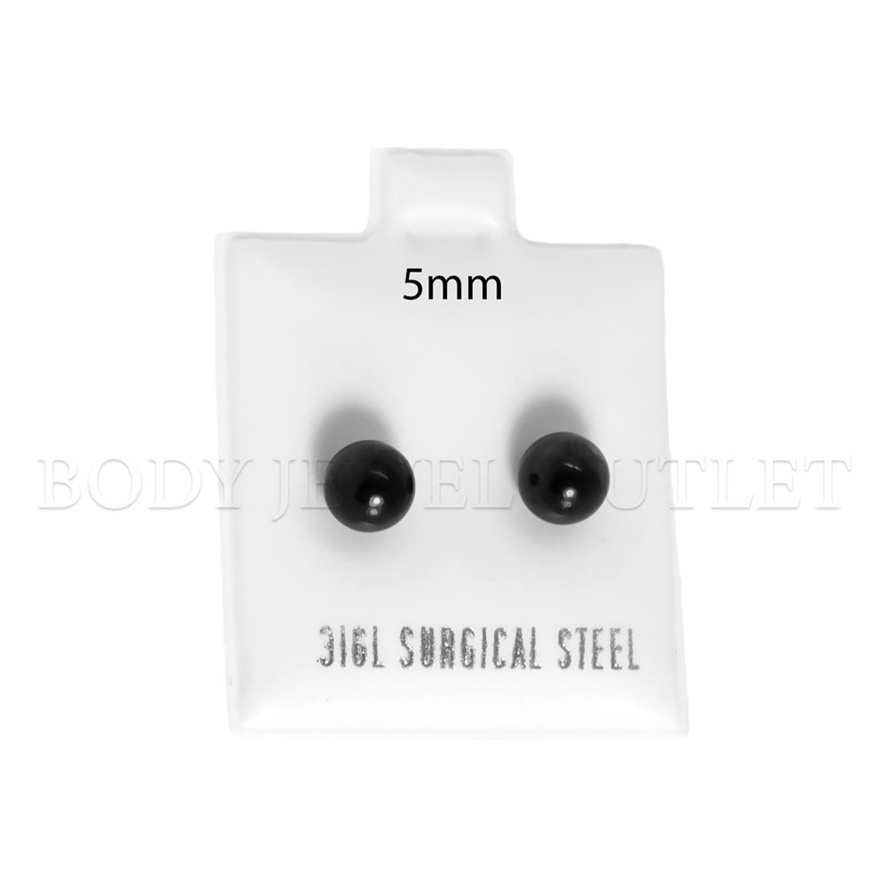 5mm Black IP Ball Stud - 316L Stainless Steel Earring - Pair (2 Pieces)