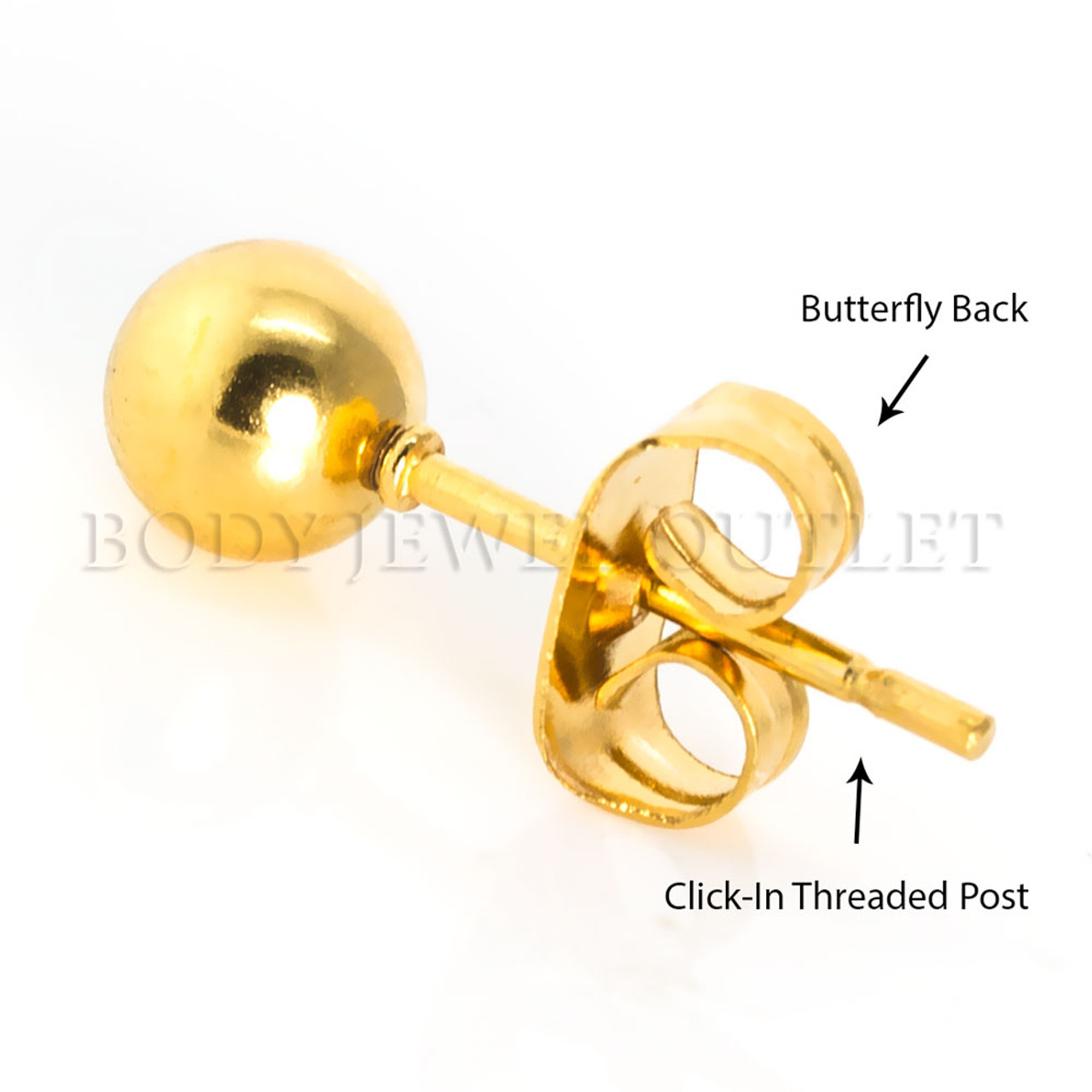7MM Gold IP Ball Stud - 316L Stainless Steel Earring - Pair (2 Pieces)