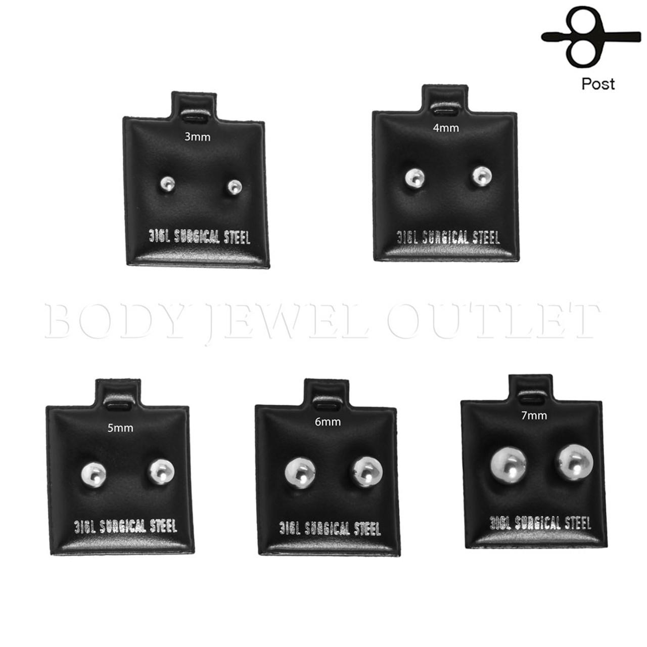 4mm Stud Earrings Stainless Steel Ball   BodyJewelOutlet