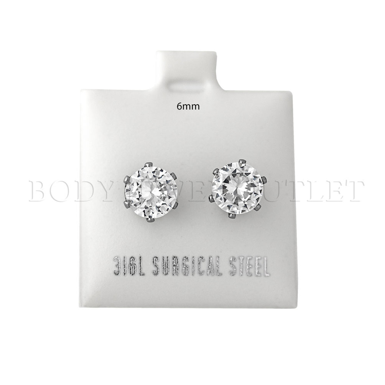 6mm Clear Round CZ  Stud - 316L Stainless Steel Earring - Pair (2 Pieces) 6mm Stud Earrings with Clear Round CZ - Steel | BodyJewelOutlet