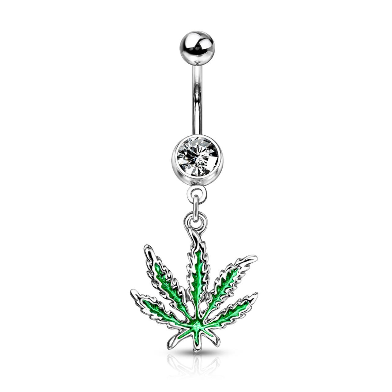Dangle Belly Piercing Green Pot Leaf | BodyJewelOutlet Marijuana