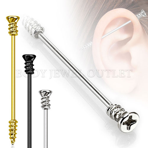Gold IP Steel Screw Shape Industrial Barbell  316L Surgical Steel - 14 Gauge (1 Piece)