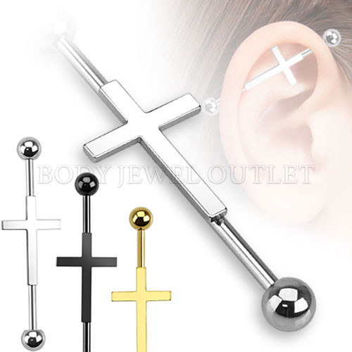 Steel Cross Centered Industrial Barbell  316L Surgical Steel - 14 Gauge (1 Piece)