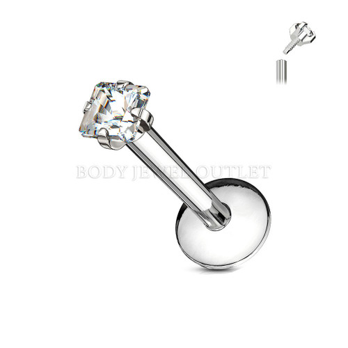 Clear SQUARE Prong Set CZ Gem - 3mm - Internally Threaded - 316L Surgical Steel Labret/Monroe Lip Piercing- 16 Gauge (1 Piece)