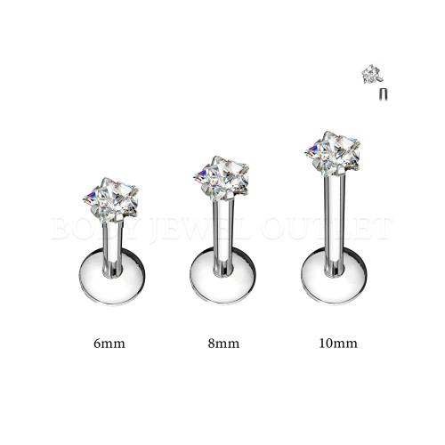 Labret Lip Piercing Steel Internal thread w/ Star Clear CZ | BodyJewelOutlet