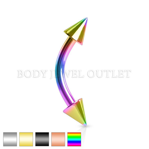 Eyebrow Piercing Rainbow IP Steel with Spikes | BodyJewelOutlet
