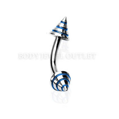 Eyebrow Piercing Steel Spike with Blue Stripes | BodyJewelOutlet