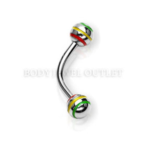Eyebrow Piercing Steel Ball with Tri-color Stripes | BodyJewelOutlet