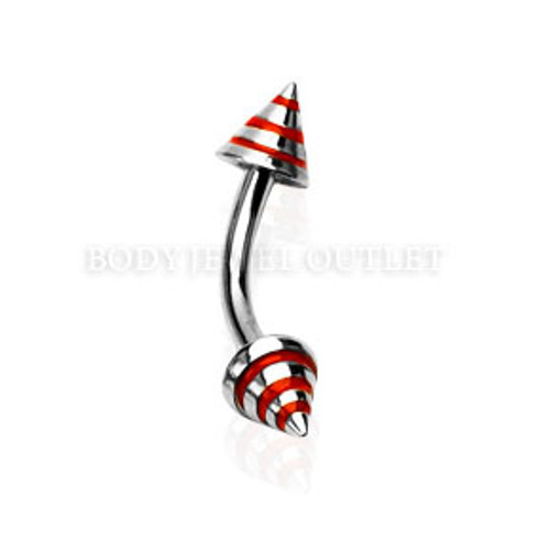 Eyebrow Piercing Steel Spike with Red Stripes | BodyJewelOutlet