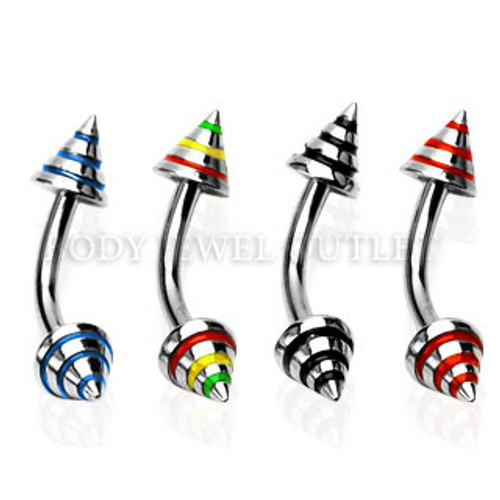 Black Stripe Steel Spike 4mm - 316L Surgical Steel Curve Barbell/Eyebrow Piercing - 16 Gauge (1 Piece)